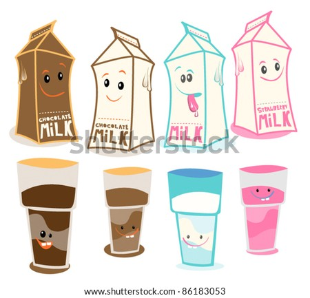 various happy flavored milk carton characters for kids - stock vector