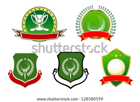 Various heraldic  golfing sports icons with banners for your text or team, isolated on white. Jpeg version also available in gallery - stock vector