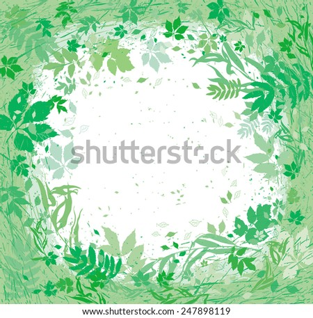 Various herbs and leaves flying around. Frame of gentle light green flora. - stock vector