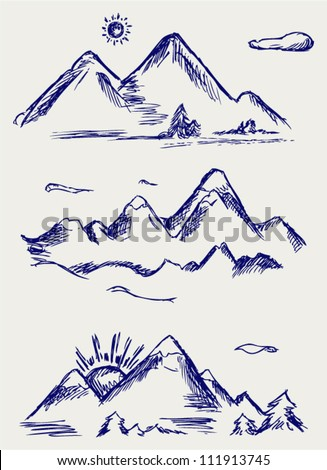 Various high mountain peaks. Doodle style - stock vector