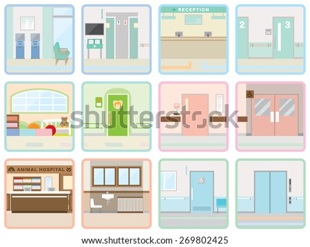 Various hospital - stock vector