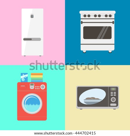 refrigerator and stove set. various household appliances for the home icon set in vector flat style. white refrigerator / and stove