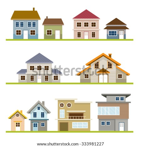 Various houses style set one two stock vector 333981227 for Building a two story house