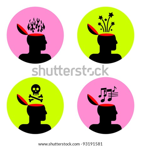 various icons of open human head - stock vector