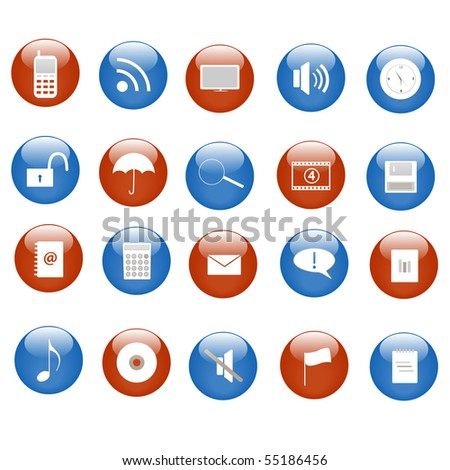 Various icons on blue and red buttons. - stock vector