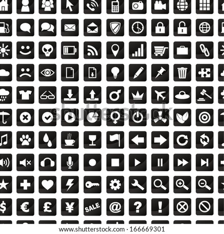 Various icons. Seamless pattern.
