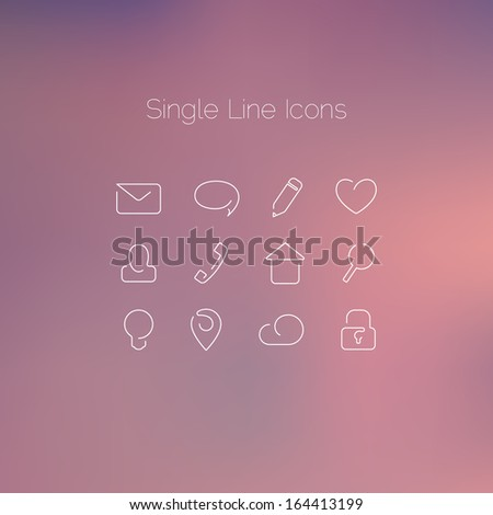 Various icons set drawn with single line. Elegant series - stock vector