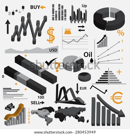 various info-graphics 3d graphs for your business or stock market eps10 - stock vector