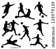 various isolated poses of soccer players in silhouettes - stock