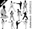 Various karate poses of  fighters silhouettes on white background, vector illustration - stock photo
