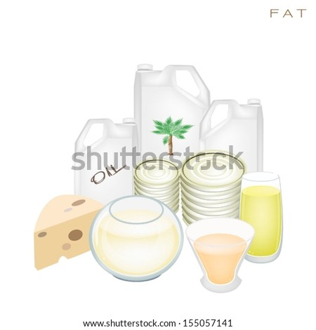 Various Kind of Fat Products to Improve Nutrient Intake and Health Benefits, Fat Is One of The Main Types of Nutrients.  - stock vector
