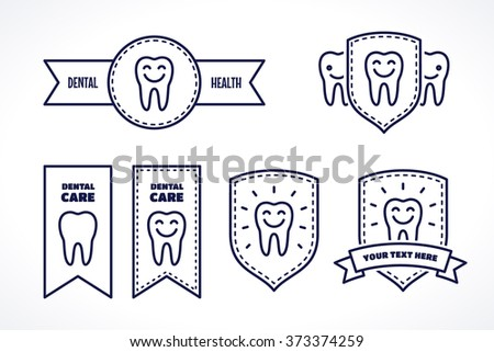 Various labels with teeth and place for text. Ribbon, circle shape, shield. Dark-blue linear tooth sign, symbol, icon, logo, concept  - stock vector