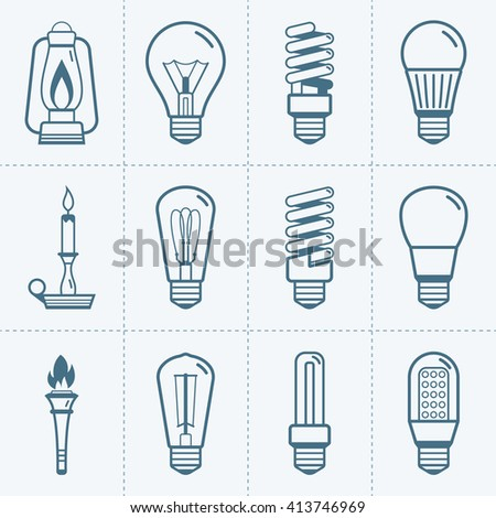 Various light bulb icons set. Vector illustration - stock vector