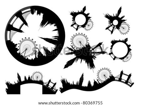 various London skylines - vector - stock vector