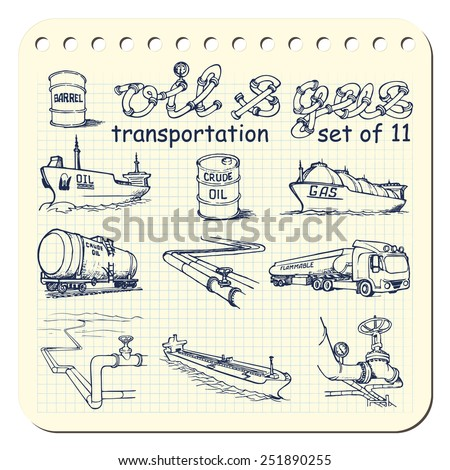 Various means of crude oil, natural gas and derivative products transportation. EPS8 set of 11 vector illustrations in a sketchy style imitating scribbling in the notebook or diary. - stock vector