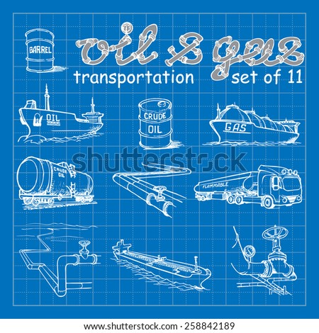 Various means of crude oil, natural gas and derivative products transportation. EPS10 set of 11 vector illustrations imitating blueprint style scribbling with white marker. - stock vector