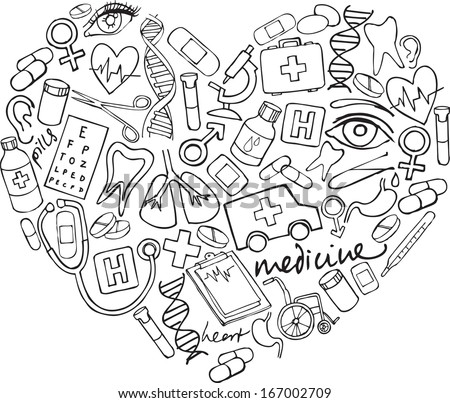 Various medical icons arranged in heart shape - stock vector