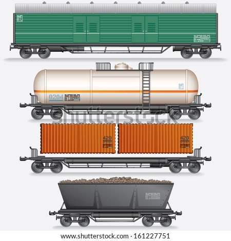 Various Modern Freight Cars. Vector Illustration - stock vector