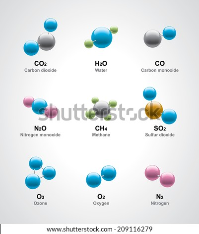 Various molecular model  - stock vector