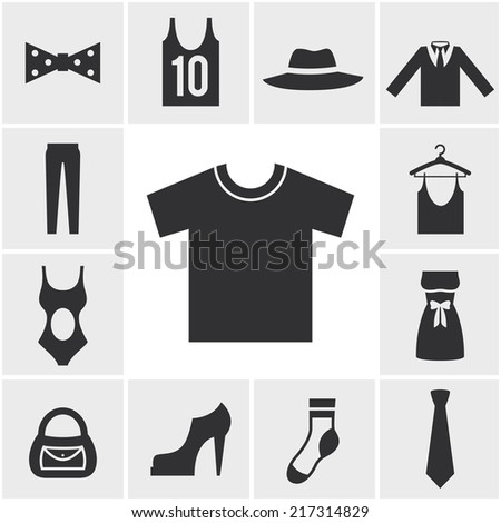 Various Monochrome Clothing Themed Graphics in Square Pattern - stock vector