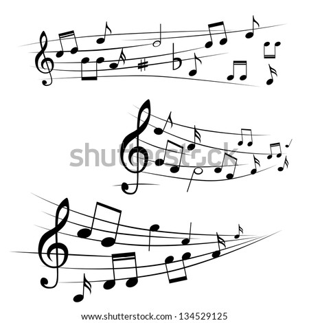 Various music notes on stave, vector illustration - stock vector