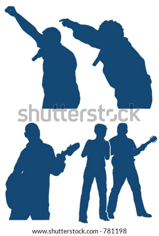 various musician silhouette - stock vector