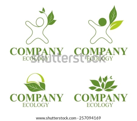 Various nature and leaf icon templates for you designs - stock vector
