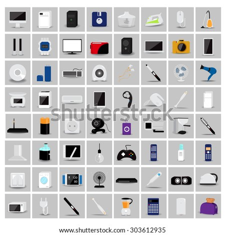 Various Objects And Appliances Icons Set - Isolated On Gray Background - Vector Illustration, Graphic Design, Editable For Your Design  - stock vector