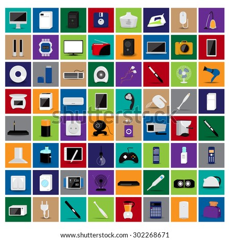 Various Objects And Appliances Icons Set - Isolated On Mosaic Background - Vector Illustration, Graphic Design, Editable For Your Design - stock vector