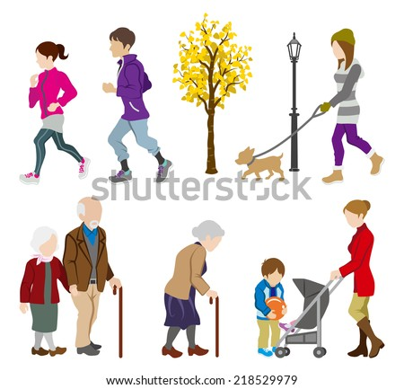 Various People Activity in Autumn - stock vector