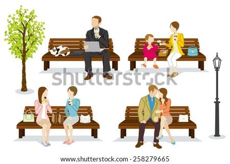 Various people are sitting on a Bench - stock vector