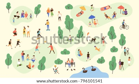 Various people at park performing leisure outdoor activities - playing with ball, walking dog, doing yoga and sports exercise, painting, eating lunch, sunbathing. Cartoon colorful vector illustration.