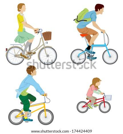 Various people riding Bicycle, Isolated - stock vector