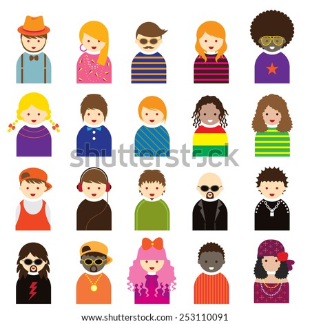 Various People Symbol Icons Teenager Set - stock vector