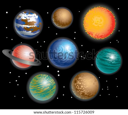 Various Planets Solar System - stock vector