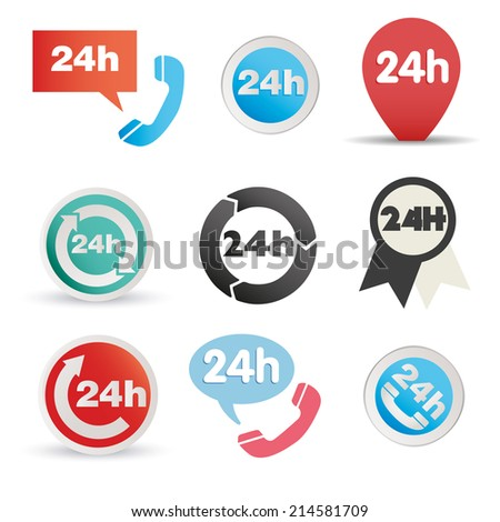 Various postage and support related icon set - stock vector