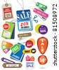 various price tags & labels - stock vector