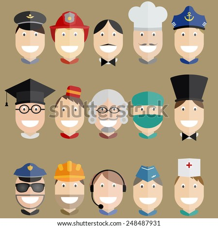 Various professional people, happy faces of pilot, captain, police officer, judge, fireman, chef, magician, porter, engineer, flight attendant, worker, engineer, doctor, waiter, sailor, operator - stock vector