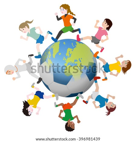 various races children running around the earth and soccer ball, vector illustration - stock vector
