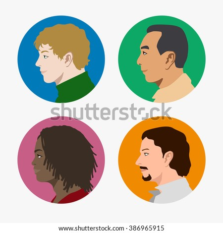various races men profile icon set, face as seen from the side, avatar icons, vector illustration - stock vector