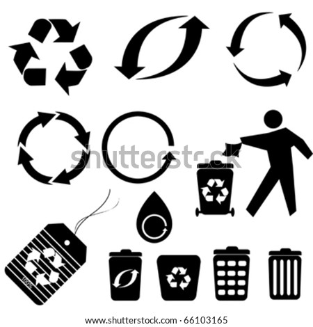 Various recycling symbols and icons - stock vector