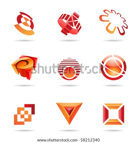 Various red abstract icons isolated on a white background - stock vector