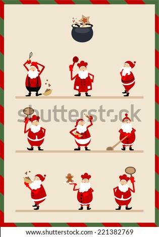 Various Santa Claus expression - stock vector
