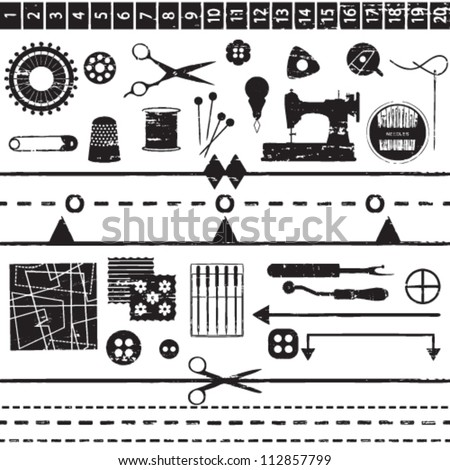 Various scratched sewing and tailoring symbols - stock vector
