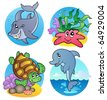 Various sea animals and fishes - vector illustration. - stock photo