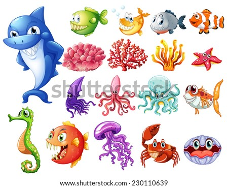 Various sea creatures on white - stock vector
