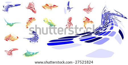 various shapes of pixels - stock vector