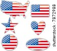 various shapes with the Usa flag inside - stock vector