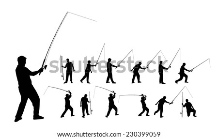 Various silhouettes of a person fishing with a rod, vector format - stock vector