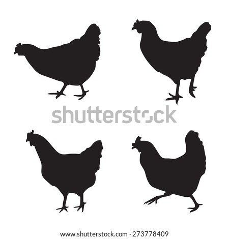 various silhouettes of chickens - stock vector